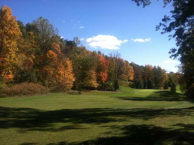 A fall day view from a fairway at Hunter Golf Club.