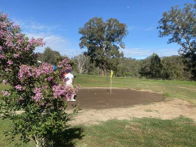 View of a sand green at Murrurundi Golf Club.