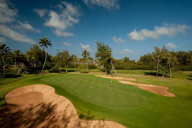 A view of the 18th hole at George Fazio Course from Turtle Bay Resort.
