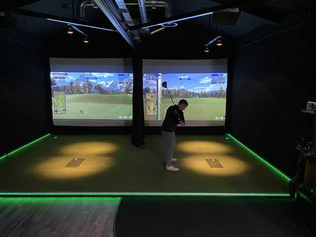 View of the golf simulator at Marton Meadows Golf Course.