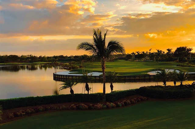 A sunset view of a hole at Heritage Bay Golf and Country Club.