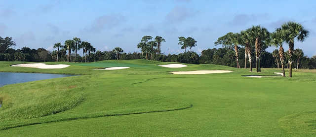 A view of a well protected green at Heritage Landing Golf & Country Club.