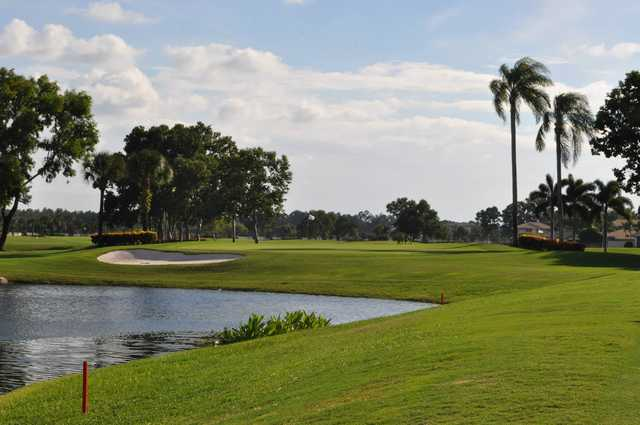 A view of a green with water coming into play at Quail Village Golf Club.