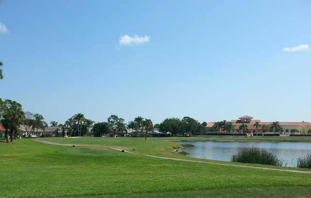 A view of a tee at Sabal Springs Golf & Racquet Club.