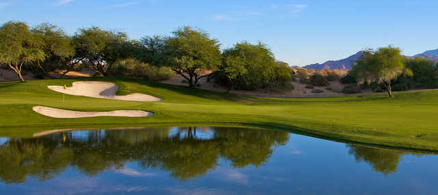 A view of a green from Mountain View at Desert Willow Golf Resort.