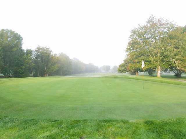 A morning day view of a green at Lucas Oil Golf Course.
