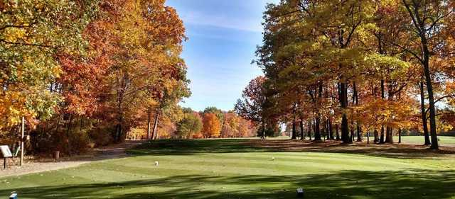 A fall day view from a tee at Brookside Golf Course.