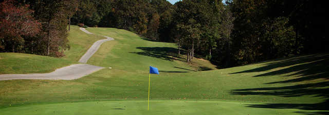 A fall day view of a hole at Frances E. Miller Memorial Golf Course.