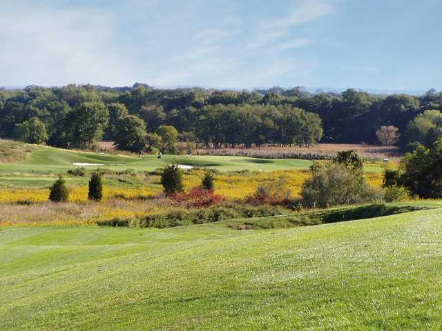 A sunny day view of a hole at Neshanic Valley Golf Course.