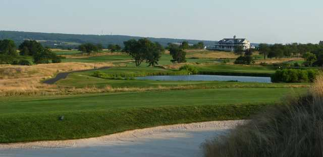 A view of the clubhouse and a hole at Neshanic Valley Golf Course.