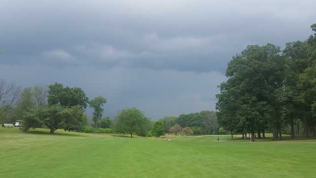 A cloudy day view from a fairway at Reid Park Golf Club.