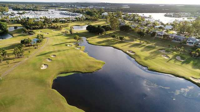Aerial view of the 4th green from The Palms at Sanctuary Cove Resort