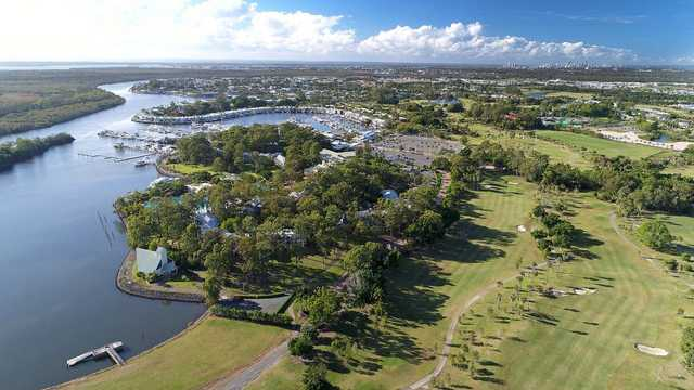 Aerial view of the 17th and 14th holes from The Palms at Sanctuary Cove Resort.