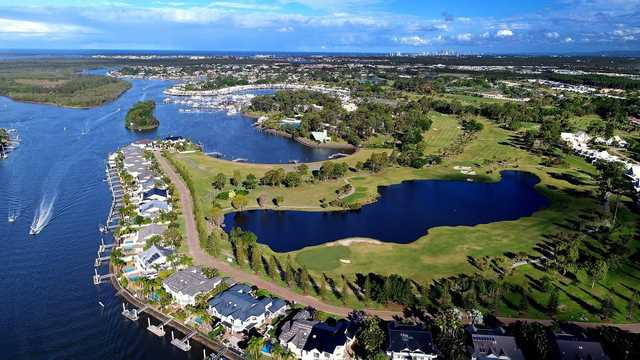 Aerial view of the 15th and 16th greens from The Palms at Sanctuary Cove Resort.