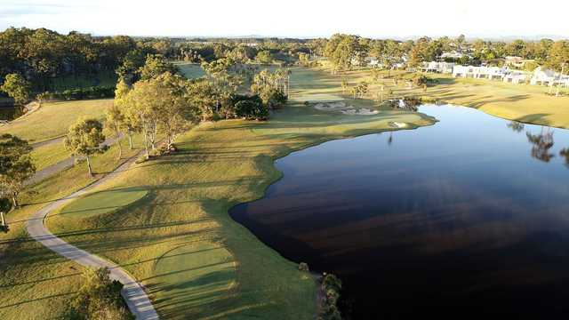 Aerial view of the 16th green from The Palms at Sanctuary Cove Resort.