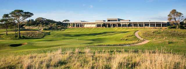 View of the 18th hole and clubhouse from The Open Course at Moonah Links