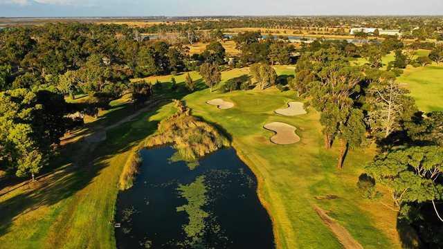 Aerial view of Kooringal Golf Club 5th hole