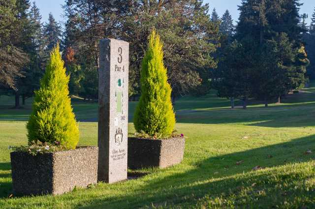 A view of tee #3 sign at Glen Acres Golf & Country Club.