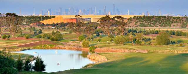 Looking back from a green at Mt Derrimut Golf & Community Club.