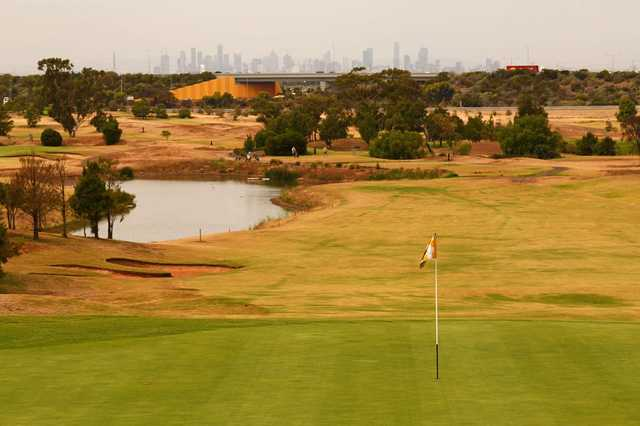 View from a green at Mt Derrimut Golf & Community Club.