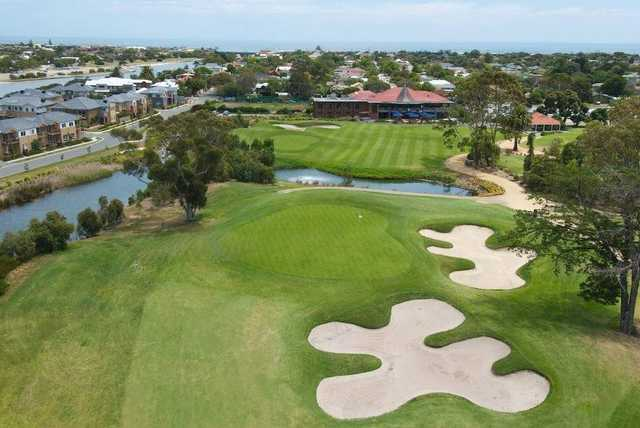 Aerial view of the 18th hole from Patterson River Golf Club.