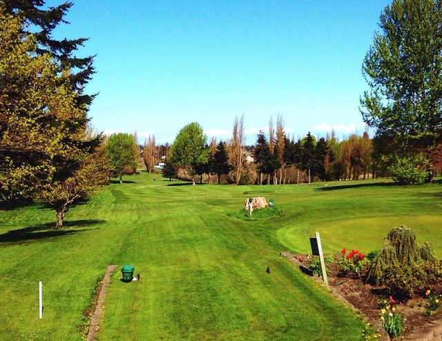 A view of a tee at Port Townsend Golf Course.