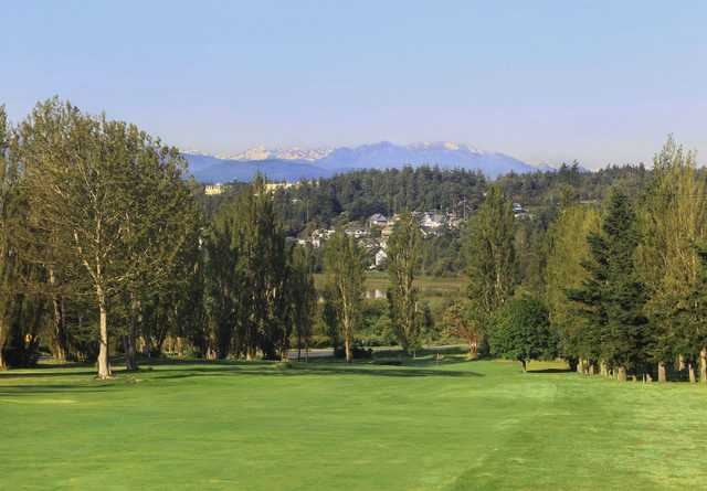 A view from the right side of a fairway at Port Townsend Golf Club.