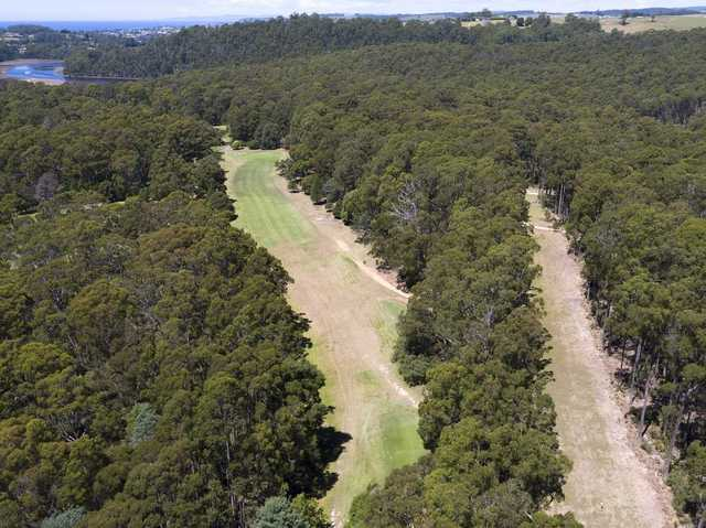Aerial view of the 3rd hole from Ulverstone Golf Club.