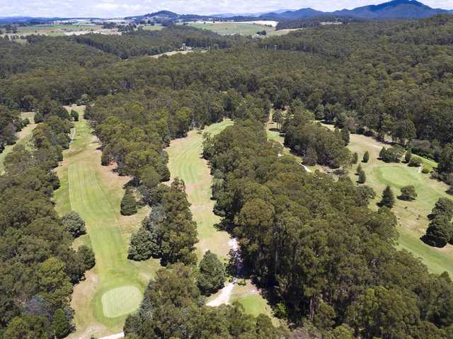 Aerial view of the 16th hole from Ulverstone Golf Club.