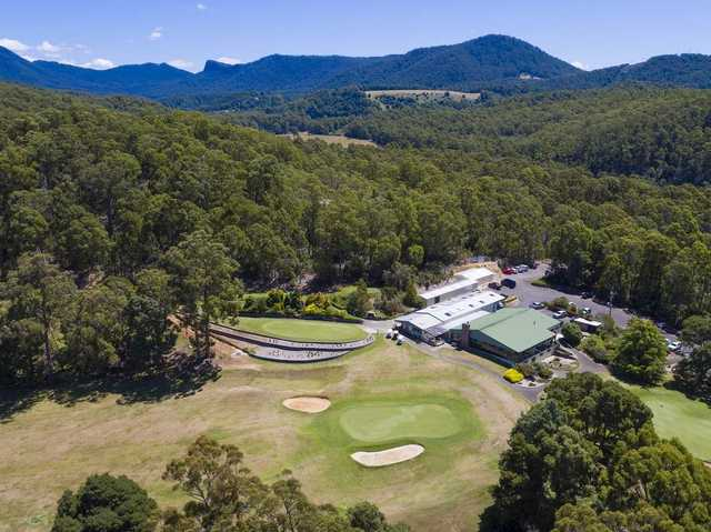 Aerial view of the 18th hole from Ulverstone Golf Club.