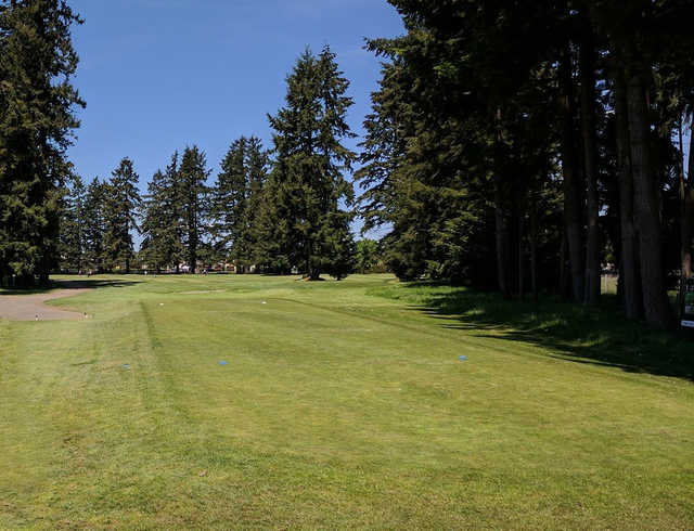 A view of a tee at Lake Spanaway Golf Course.