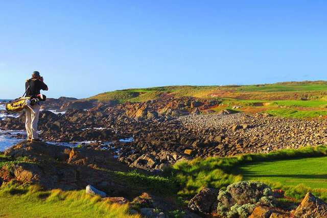 View of the 11th green at Cape Wickham Links.