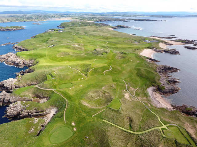 Aerial view of the Cruit Island Golf Club.