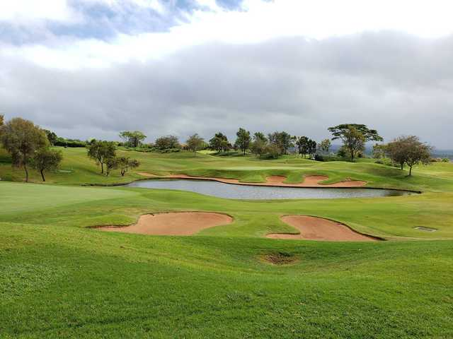 A view of a hole with water and bunkers coming into play at Royal Kunia Country Club.