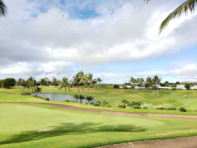 A sunny day view from Royal Kunia Country Club.