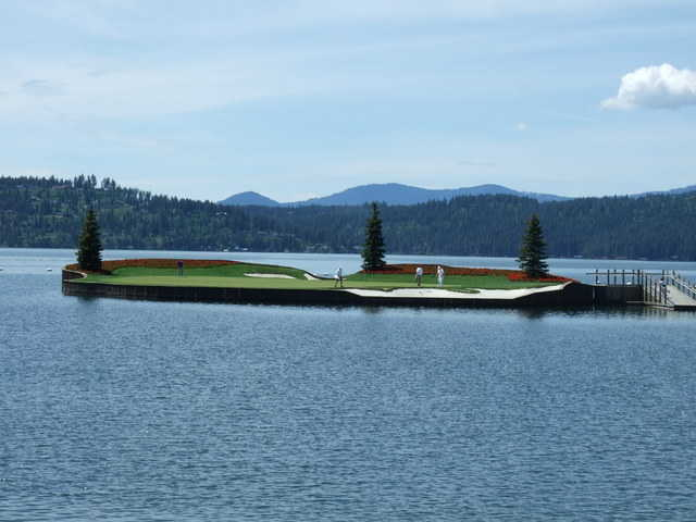 Coeur d'Alene Golf & Spa Resort's famous floating island green can look far away from the tee. (Photo by C. Baldwin)