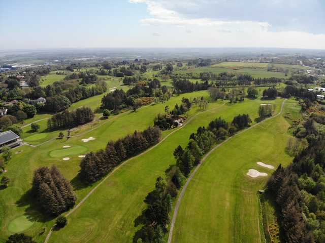 Aerial view of the 18th hole on the left side, the 17th in the middle and the 15th on the right side at Wexford Golf Club