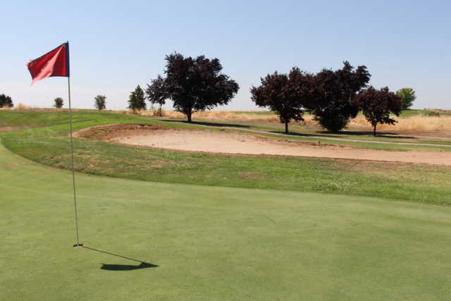 A sunny day view of a hole at Coyote Run Golf Course.