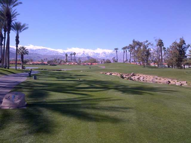 A view of tee #1 at Desert Falls Country Club.