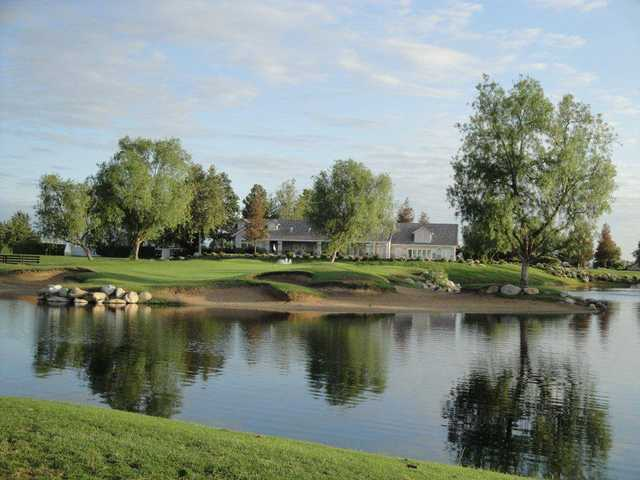 A view of the clubhouse and a hole from Links at RiverLakes Ranch.