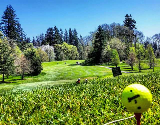 A spring day view of a fairway at Mint Valley Golf Course.