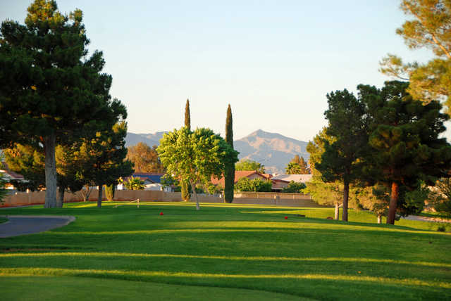 View of the 7th tee at Los Prados Golf Course.