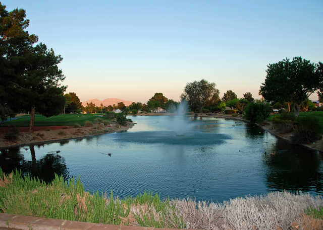 View of the pond near the 10th tee at Los Prados Golf Course