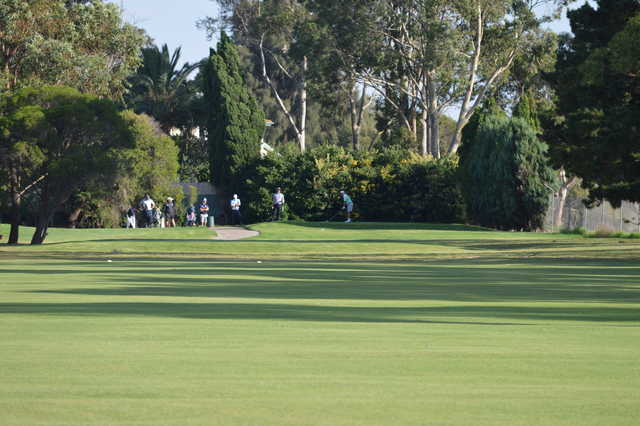 A view of a tee at Rossdale Golf Club.