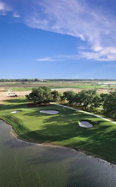 Aerial view of the 17th green from Esplanade at Azario Lakewood Ranch
