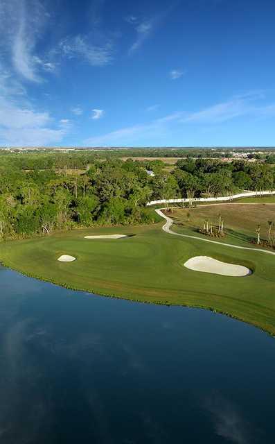 Aerial view of the 5th green at Esplanade at Azario Lakewood Ranch