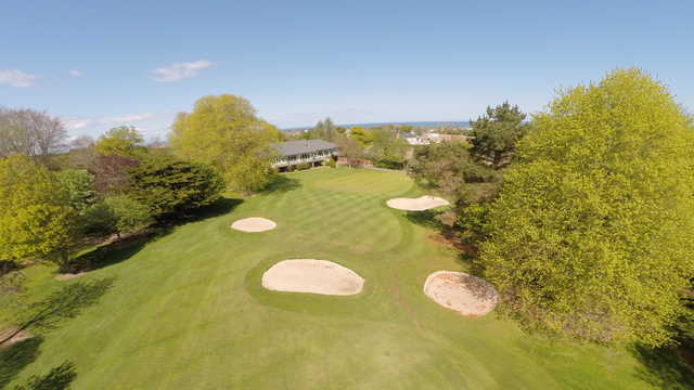 Aerial view of the 18th hole at Skerries Golf Club.