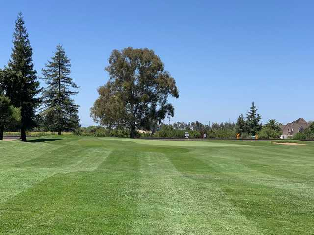 A view of the 15th green at Micke Grove Golf Links .