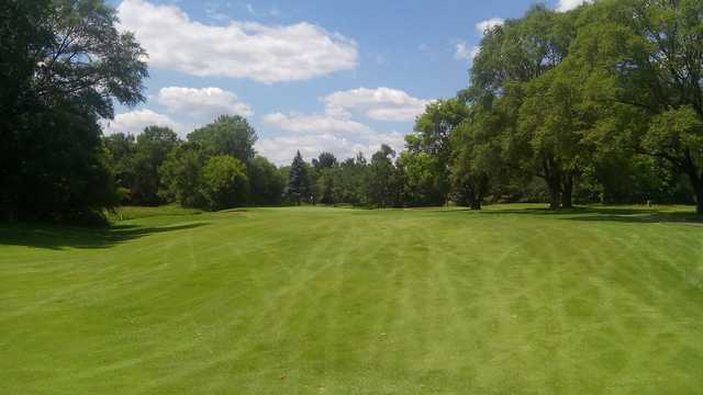 A view of the 10th hole at Crossroads Golf Course from Majestic Oaks Golf Club.