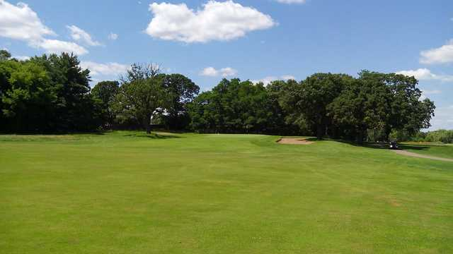 A view of the 13th green at Crossroads Golf Course from Majestic Oaks Golf Club.